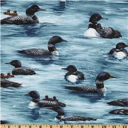 Timeless Treasures Nature Loons Blue
