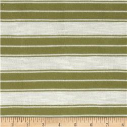 Stretch Yarn Dyed Hatchi Knit Stripes Olive/White