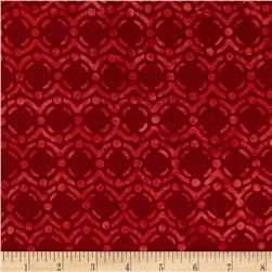 Bali Batiks Handpaint Circle Dots Cherry