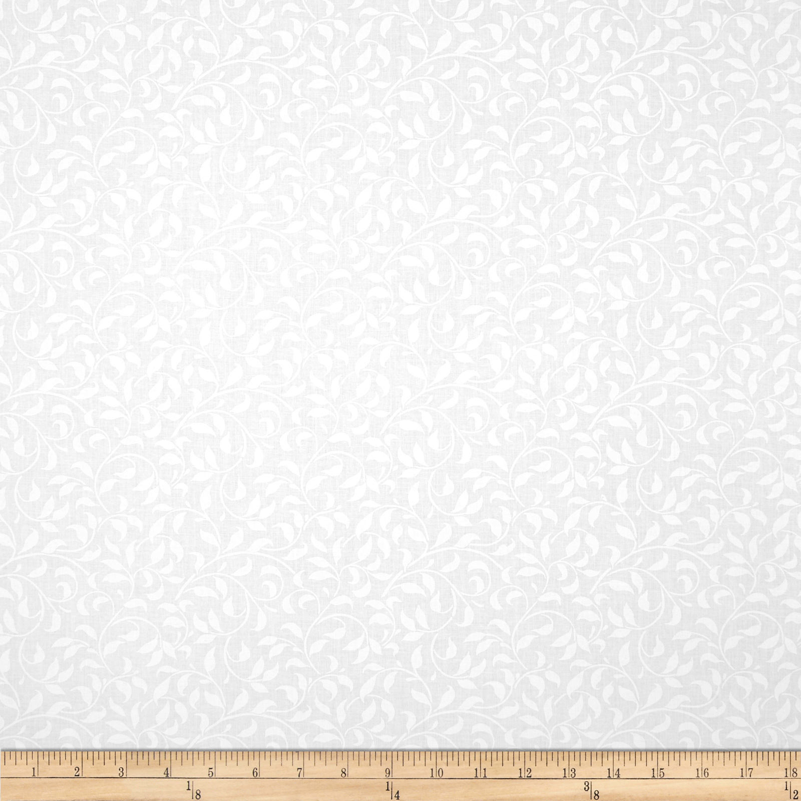 Essentials 108'' Climbing Vine White On White Fabric by MM Fab in USA