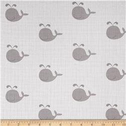 Riley Blake Double Gauze Whale Gray