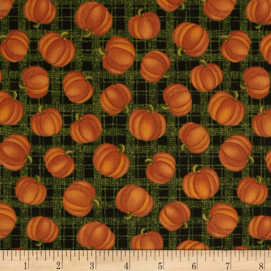 Harvest Song Pumpkin Plaid Green