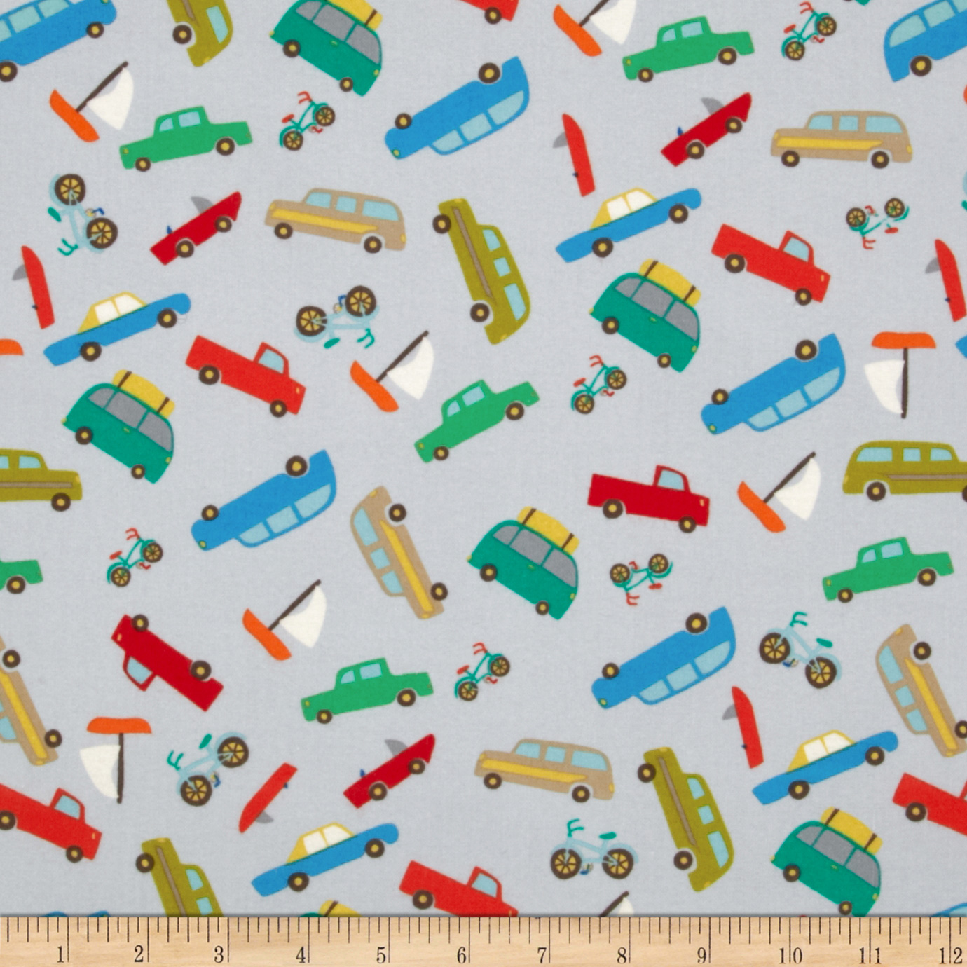 Riley Blake Road Trip Flannel Scenic Cars Grey