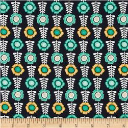 Botanical Floral Row Charcoal Fabric