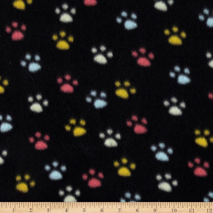 Wintry Fleece Paw Prints Black