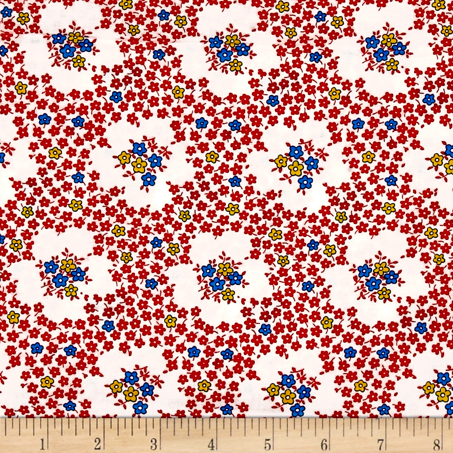 1930s House Dresses Everything But The Kitchen Sink Teatime Rose Red Fabric $8.53 AT vintagedancer.com