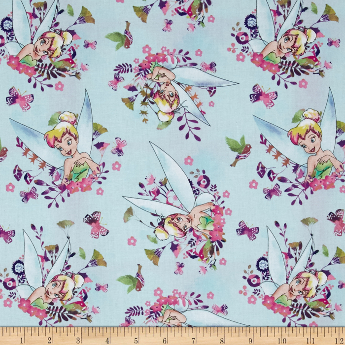 Disney Tinkerbell Tink Watercolor Ice Blue Fabric by E. E. Schenck in USA