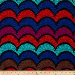 Silky Stretch ITY Jersey Knit Seashells Scallop Red/Blue