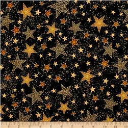 Kaufman Winter Grandeur Metallic Stars Black