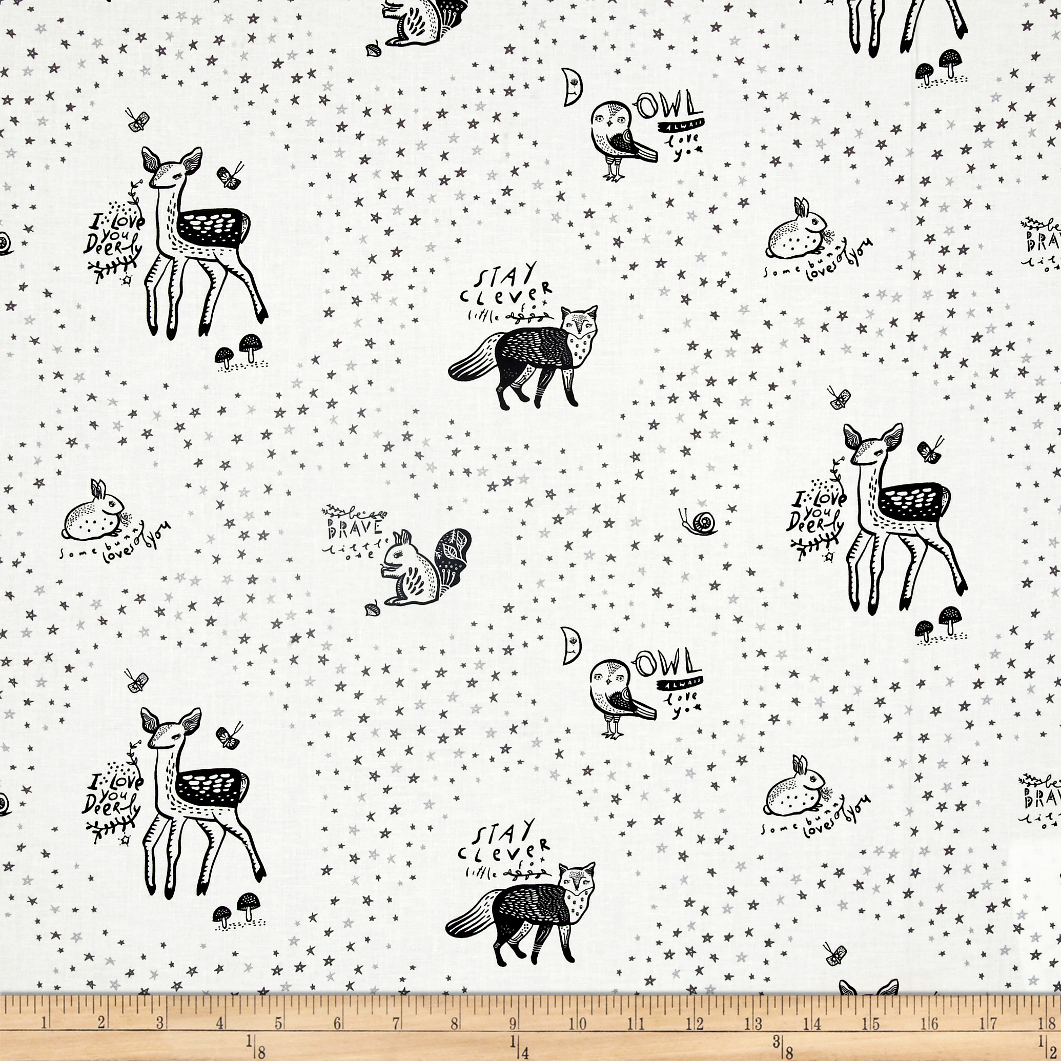 Image of Dear Stella Adventure Awaits Animals White Fabric