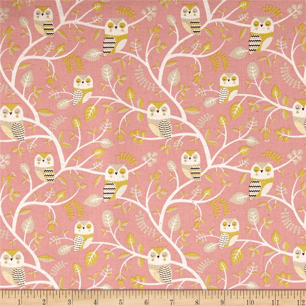 Kokka trefle animals owl tree canvas pink discount for Canvas fabric