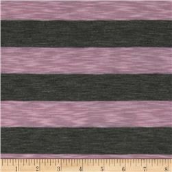 Stretch Yarn Dyed Slub Jersey Knit Stripes Pink/Grey