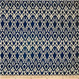 Rayon Challis Tribal Ikat Navy/Cream