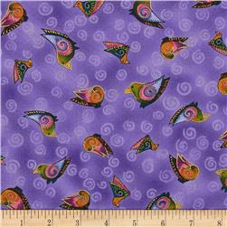 Laurel Burch Embracing Horses Metallic Tossed Birds Purple