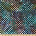Michael Miller Batiks Marine Clown Check Marine Blue