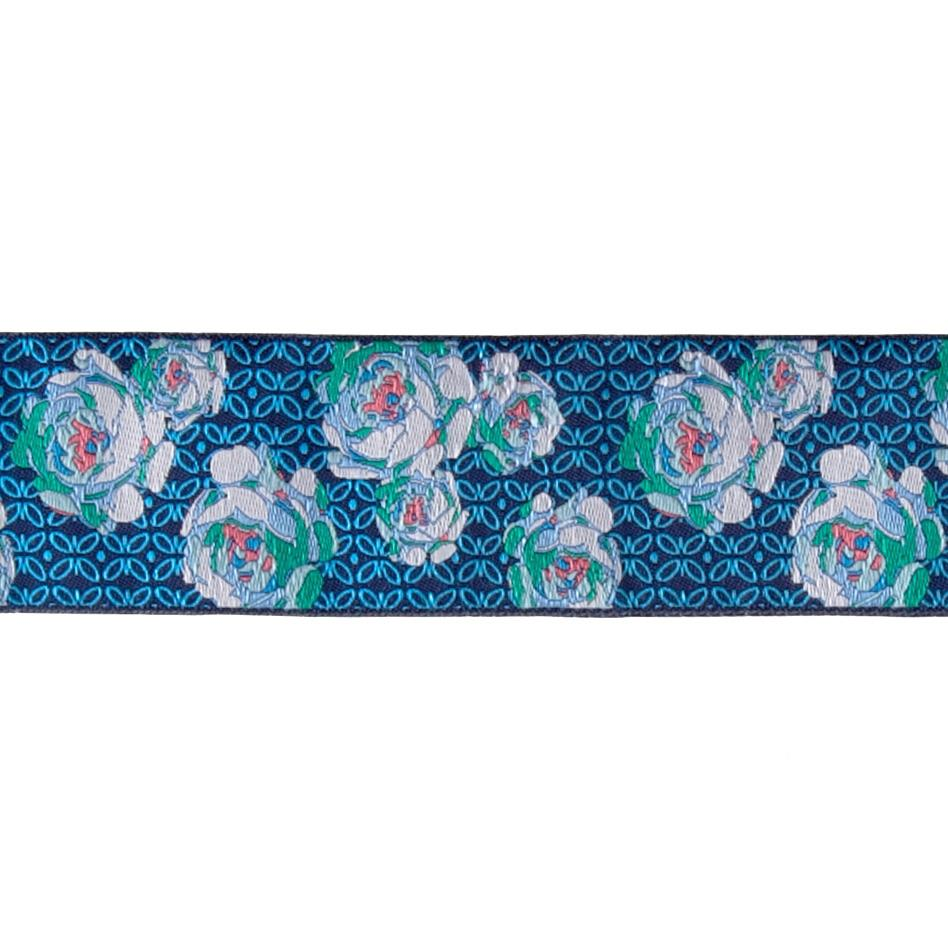 "1 7/8"" Amy Butler Roses Blue & White on Blue"