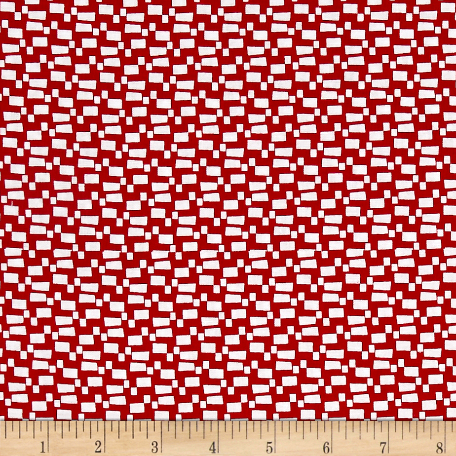 Modern Mixers Iii Small Rectangles Geo Red Fabric
