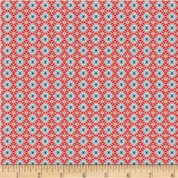Aunt Grace Simpler Sampler Circle Blue/Red Fabric