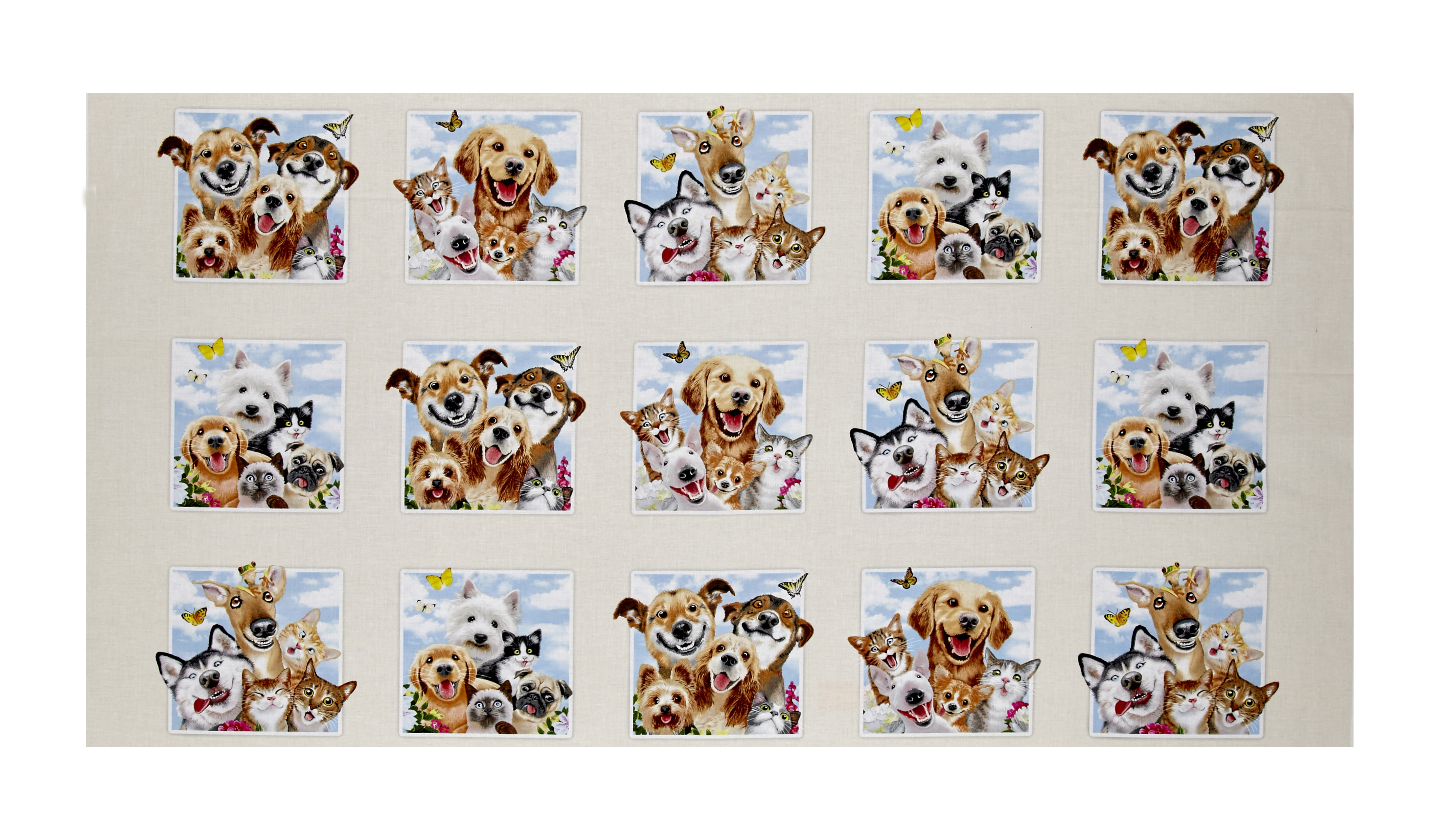 Pet Selfies Dog and Cats 23.5 inch Panel Cream Fabric