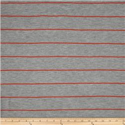 Designer Yarn Dyed Jersey Knit Stripes Grey/Bright Orange