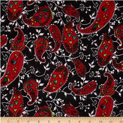 Stretch ITY Jersey Knit Paisley Black/Red