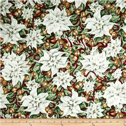 Christmas In Bloom Poinsettias White Fabric