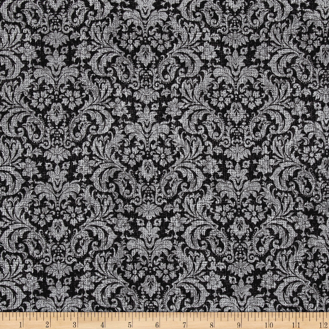 Let it Be Damask Charcoal Fabric by Exclusively Quilters in USA