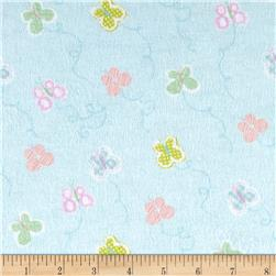 Flannel Tossed Small Geometric Butterflies Blue