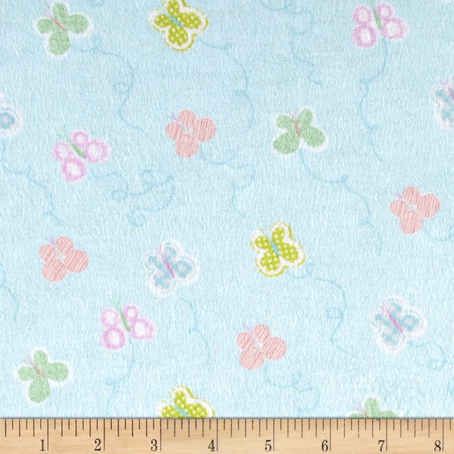 Flannel Tossed Small Geometric Butterflies Blue Fabric