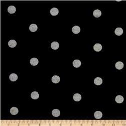 Stretch Blend Jersey Knit Dots Black/Grey