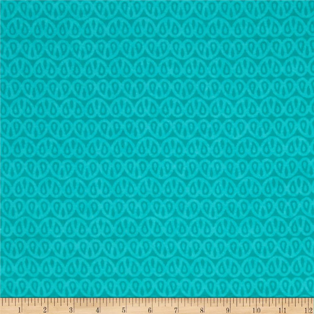 Ombu Flannel Small Tone on Tone Paisley Turquoise