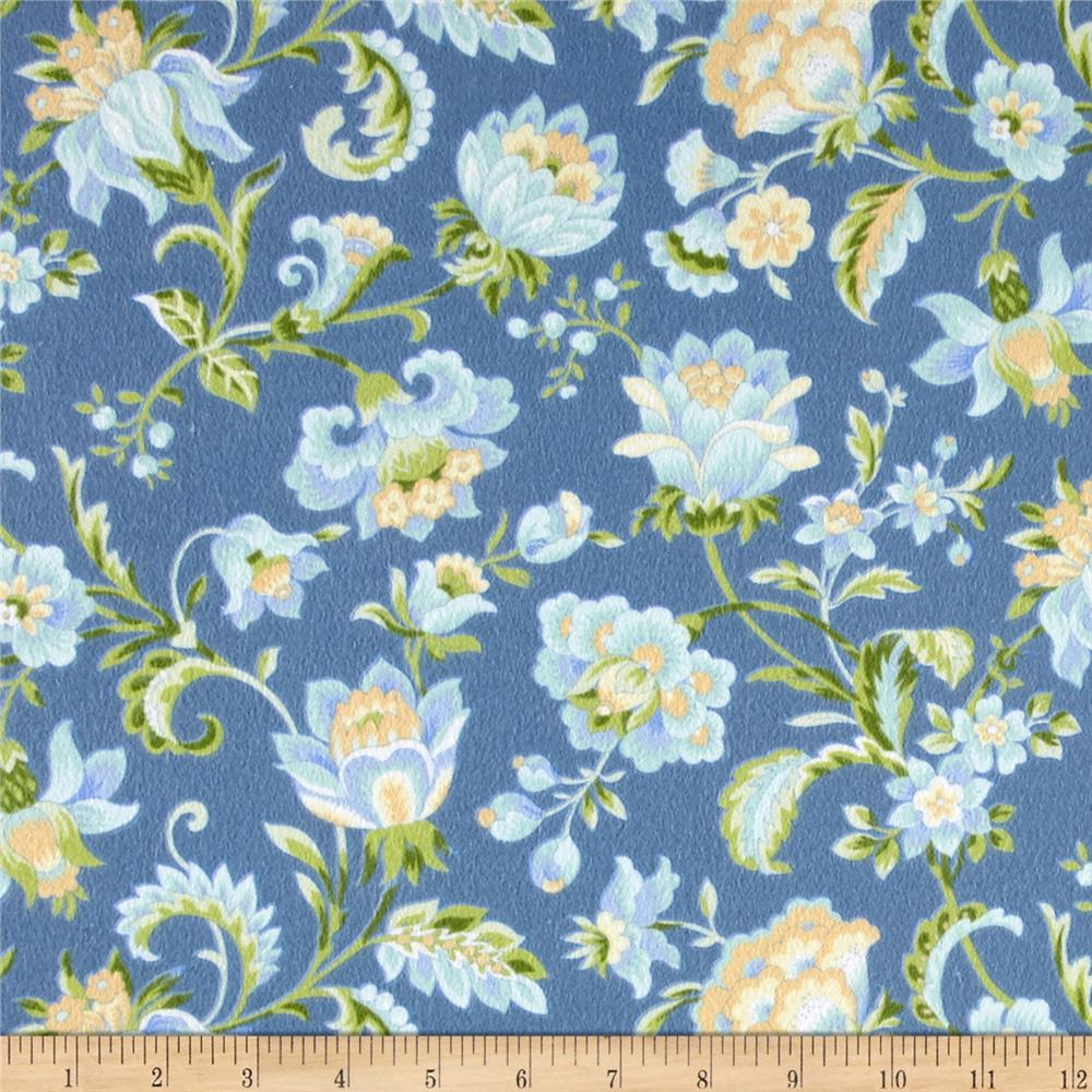 Subtle Sunset Flannel Floral Blue
