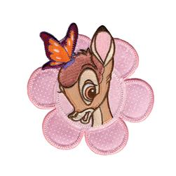 Disney Bambi Iron On Applique Bambi W/Butterfly In Flower