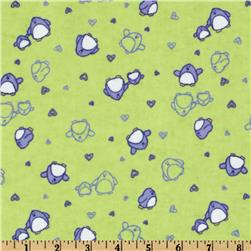 Camelot Flannel Tossed Penguins Green