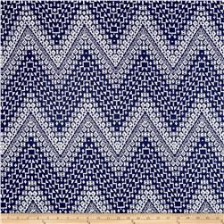 Double Brushed Jersey Knit Milana Ethnic Aztec Blue/White