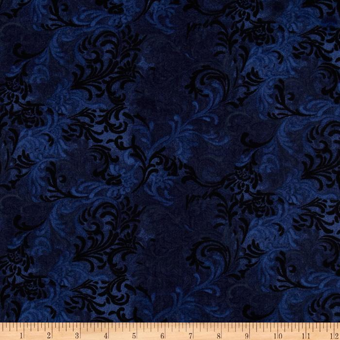 "108"" Wide Flourish Quilt Backing Navy"