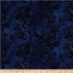 108'' Wide Flourish Quilt Backing Navy Fabric
