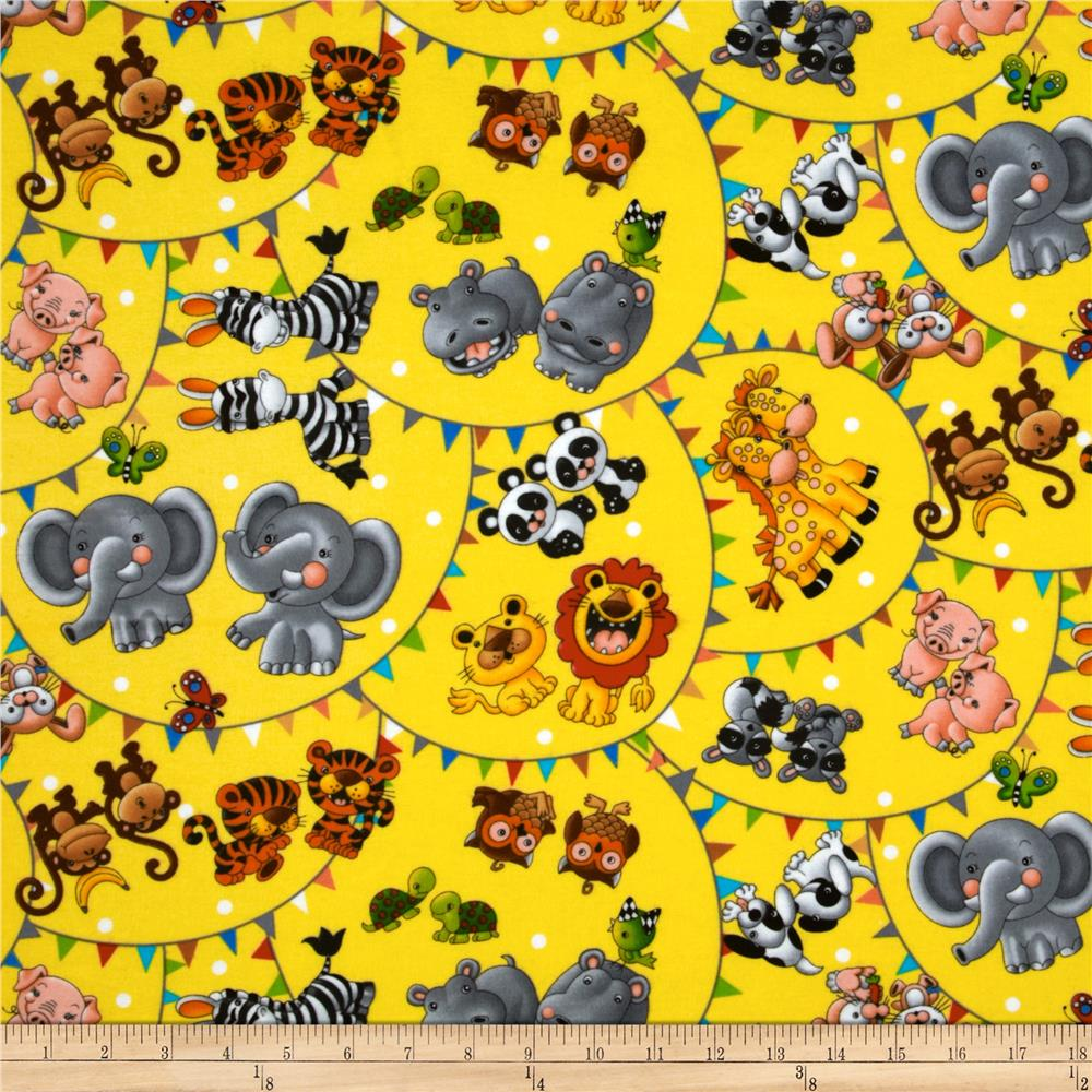 Noah's Ark Flannel Animal Toss Yellow
