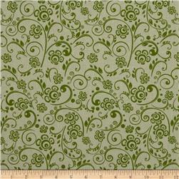 "108"" Wide Quilt Back Floral Swirl Green"