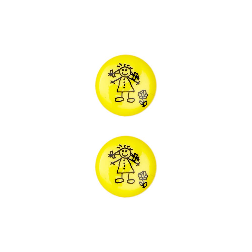 Dill Novelty Button 11/16'' Children's Drawing Yellow