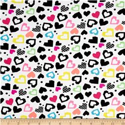 Pajama Dreamy Hearts Rib Knits White/Black/Pink/Yellow