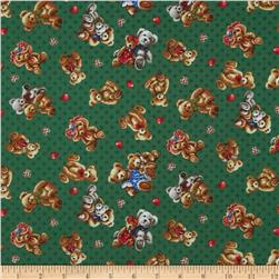 Bear Hugs Bears on Green Fabric