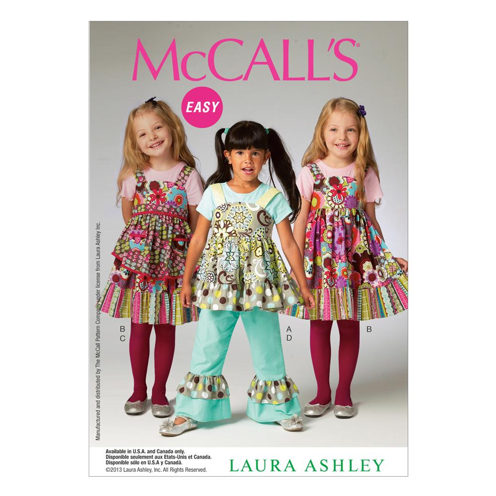 McCall's Children's/Girls' Top, Dress, Apron and Pants Pattern M6826 Size CDD
