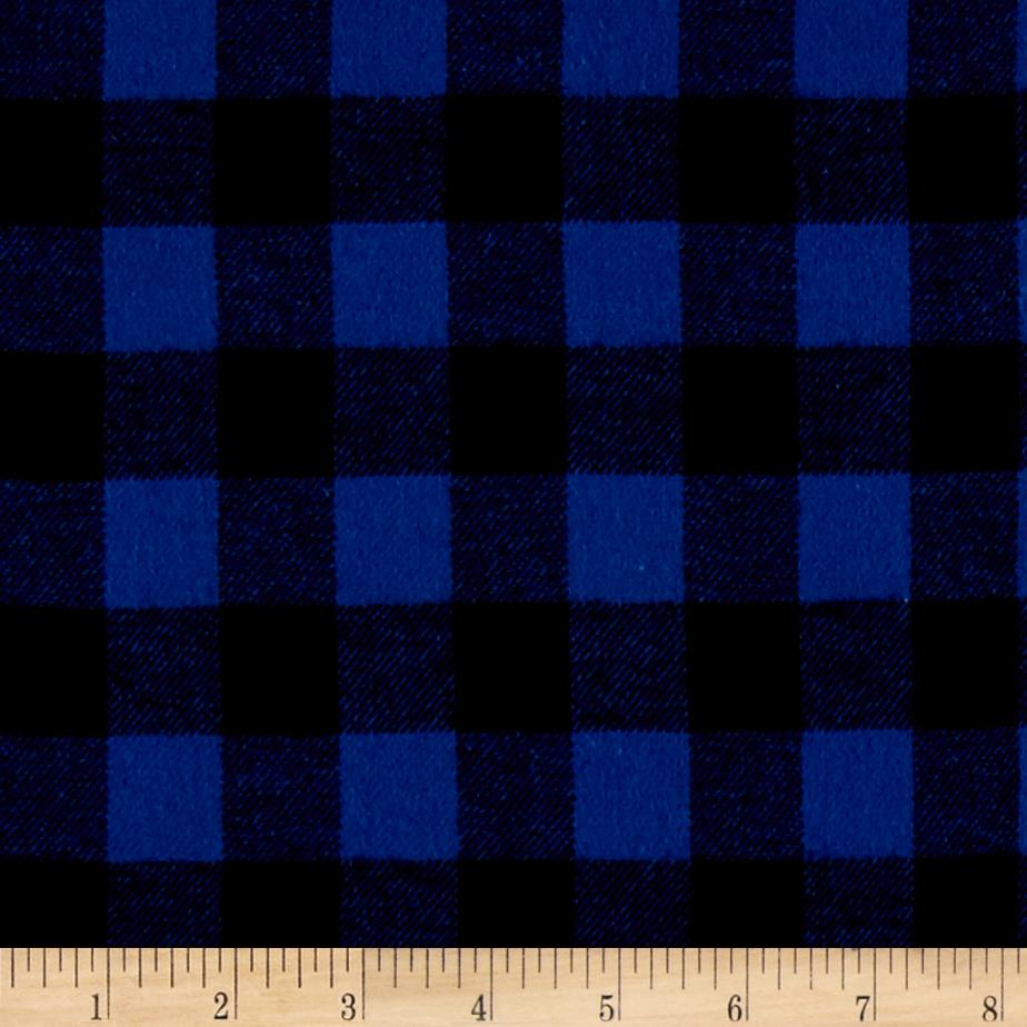 Yarn Dyed Flannel Check Royal Blue