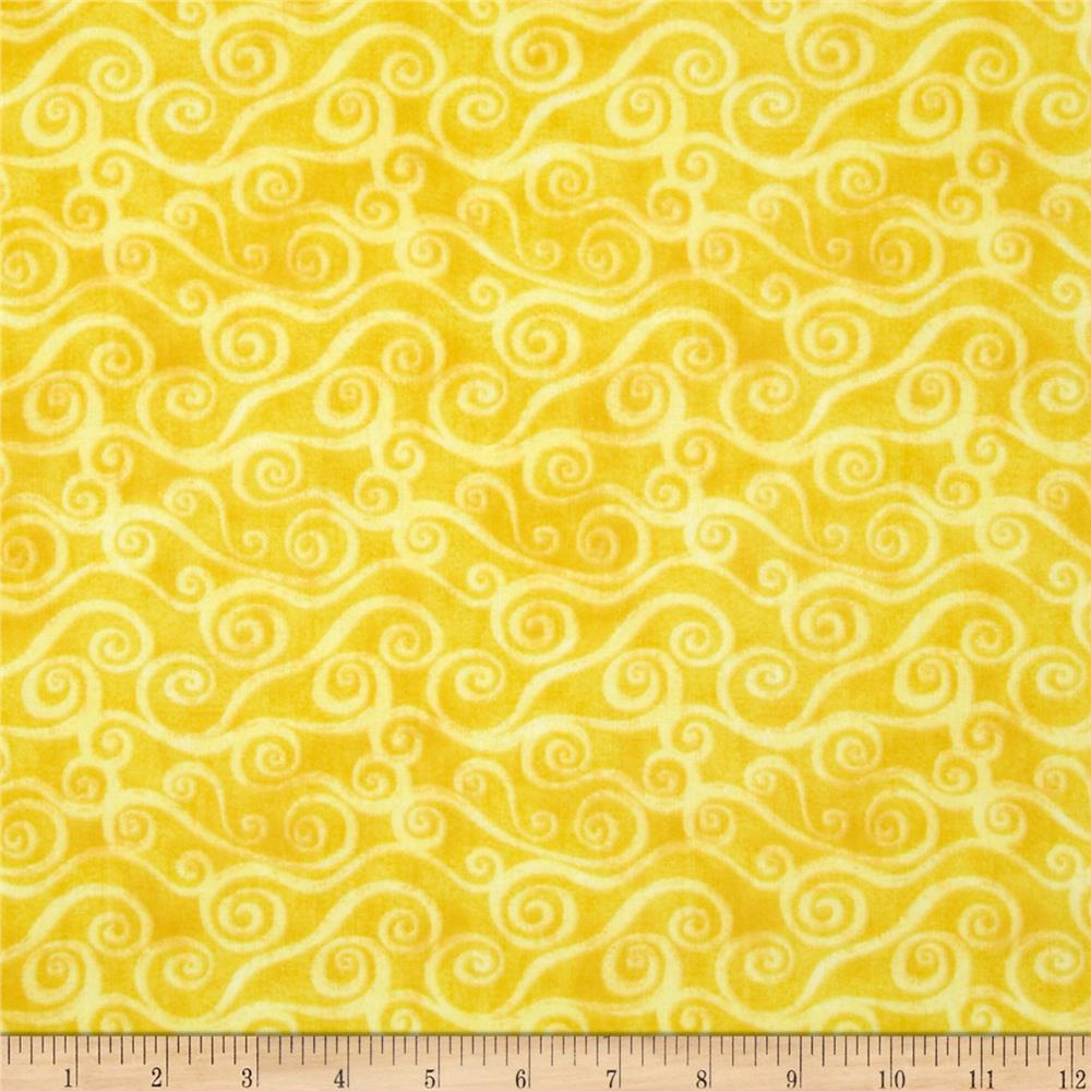 "108"" Wide Quilt Back Flannel Swirly Scroll Yellow"