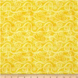 108'' Wide Quilt Back Flannel Swirly Scroll Yellow