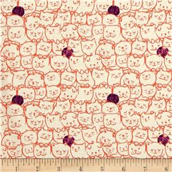 Cotton & Steel Cat Lady Stack O Cats Coral