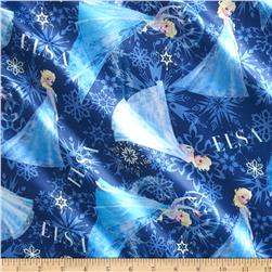 Disney Frozen Elsa Character Toss Brushed Back Satin Blue