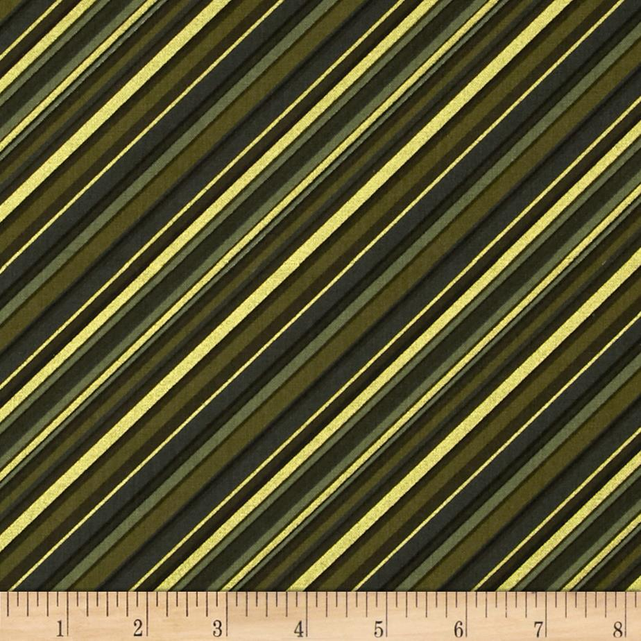 Season's Greetings Diagonal Stripe Green