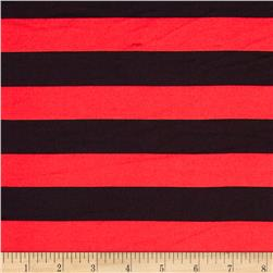 Stretch ITY Jersey Knit Stripe Red/Black